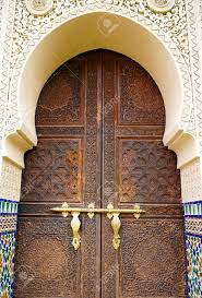 Morroco Style by Moroccan Style Door Latch On An Intricately Carved Wooden Door