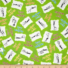 diary of a wimpy kid words u0026 kids lime discount designer fabric