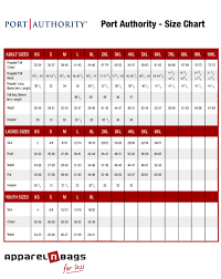 port authority clothing size chart for ladies youth