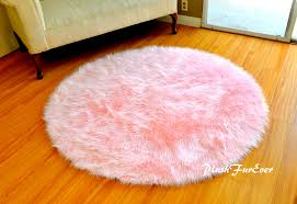 Modern Circular Rugs Pink Nursery Rug Baby Pink Luxury Faux Fur Throw Area Rug