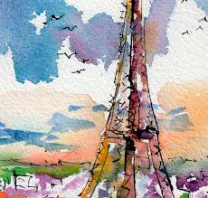 sold paris eiffel tower french culture original watercolor cities