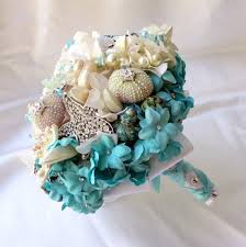 wedding bouquets with seashells items similar to seashell wedding bouquet light blue brooch