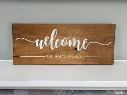 family wood sign home decor welcome wood sign family script customize rustic home decor
