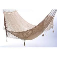 queen size outdoor cream cotton mexican hammock with fringe and