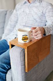 Easy Wood Projects For Beginners by Wooden Sofa Sleeve With Cup Holder A Beautiful Mess Cup