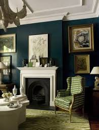 Teal Blue Living Room by Dramatic Teal Walls Via Elle Decor Sfgirlbybay Love The Color
