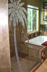 Shower Door Enclosure Glass Shower Door Enclosure Etched Frosted Palm Tree 2