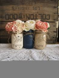jar centerpieces for baby shower set of 3 pint jars painted jars rustic centerpieces