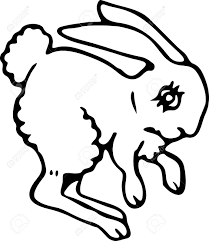 simple black and white line drawing of a cartoon bunny rabbit
