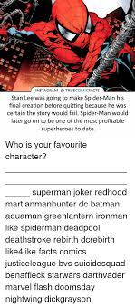 instagram true comic facts stan lee was going to make spider man his