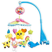 nextx crib baby cot mobile musical toy with soft colorful plush