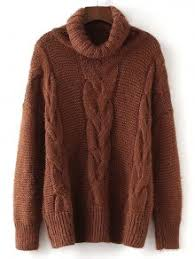 brown sweater textured turtleneck cable knit sweater brown sweaters one size