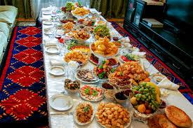 table full of food central asian cuisine kalpak travel