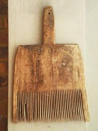 carding comb antique 19th century country primitive wooden wool carding comb