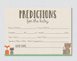 baby shower guessing pink and blue baby shower prediction cards instant