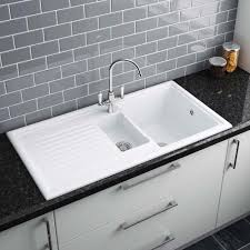 White Ceramic Kitchen Sink 1 5 Bowl Reginox White Ceramic 1 5 Bowl Kitchen Sink Plumbing Uk