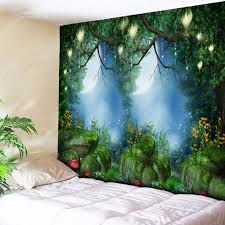 Bedroom Wall Tapestries Wall Hanging Forest Printed Bedroom Tapestry Green W Inch L Inch