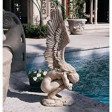 weeping angel statue crying sculpture outdoor patio yard garden