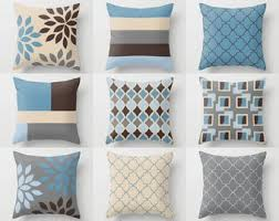 light blue accent pillows blue brown pillow etsy
