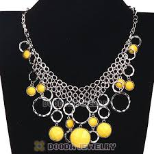 charm necklace wholesale images Silver chains multilayer yellow resin choker bib necklace jpg