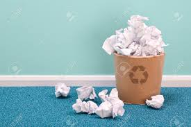 photo of a recycling waste paper basket on an office floor stock