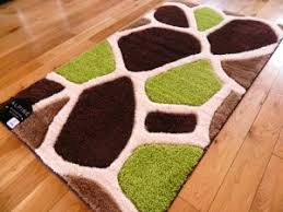 Green And Brown Area Rugs Medium Living Area Non Slip Mats Machine Washable Rubber Back
