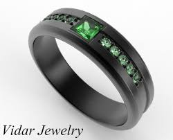 Custom Wedding Rings by Princess Cut Emerald Black Gold Wedding Band For Him Vidar