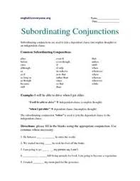 subordinating conjunctions 6th 7th grade worksheet lesson planet