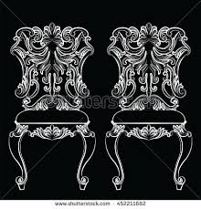 antique decorative furniture collection brown silhouettes stock
