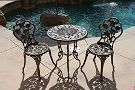 Cast Iron Bistro Chairs Amazon Com Bistro Set Outdoor Patio Furniture 3 Piece Rose