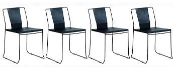 Chaise D Ext Rieur Lot De 4 Chaises D Extérieur Design Métal Noir Tenerife Miliboo