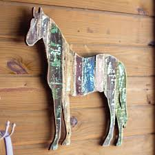 vintage horse wood wall art out of stock