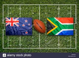 Flag Rsa New Zealand Vs South Africa Flags On Green Rugby Field Stock