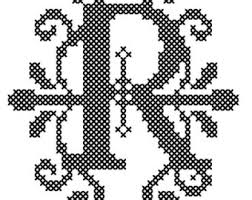letter r cross stitch pattern christmas ornament