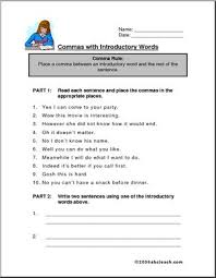 worksheet commas with introductory words abcteach