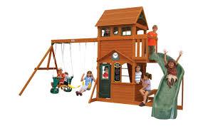 big backyard ashberry wooden swing set u0026 reviews wayfair