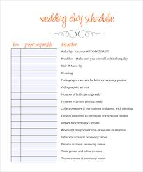 wedding agenda templates sle wedding schedule 9 documents in pdf