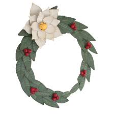 poinsettia painted metal wreath woodwaves