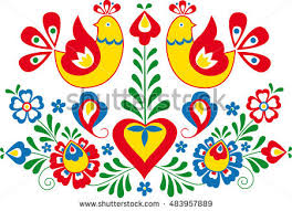 moravian folk ornament stock vector 483957889