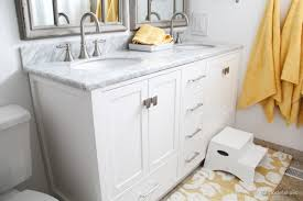 32 In Bathroom Vanity Remodelaholic Updated Bathroom Single Sink Vanity To Double Sink