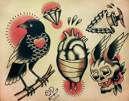 traditional bird heart skull tattoo sheet in 2017 real photo