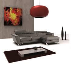 sparta mini sectional sofa in dark grey full leather by j u0026m