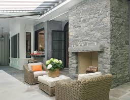 Outdoor Fieldstone Fireplace - modern belgian farmhouse design interior for life