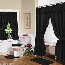 Shower Curtain And Valance Diamond Dot Ruffled Double Swag Fabric Shower Curtain With Valance