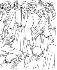 touching jesus coloring page