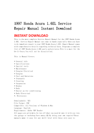 1997 honda acura 1 6 el service repair manual instant download