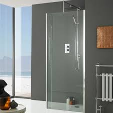 shower glass panel for modern bathroom designoursign bathroom with corner tall windows idea also awesome glass shower panel design and round side table