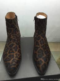 leopard brand mens biker boots westerneo wyatt shoes plus size 46