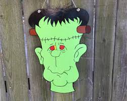 Frankenstein Door Decoration Black Cat Black Cat Door Hanger Halloween Cat Door Hanger