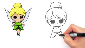 how to draw disney tinker bell fairy step by step cute youtube